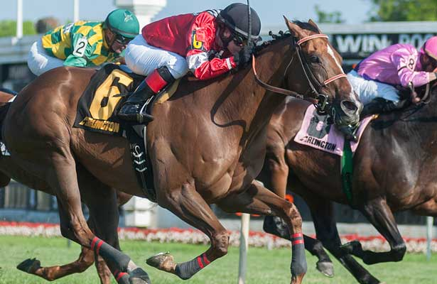Rahystrada with Rosie Napravnik aboard won the Arlington H. grade 3 stakes race Saturday afternoon at Arlington Park in Illinois.