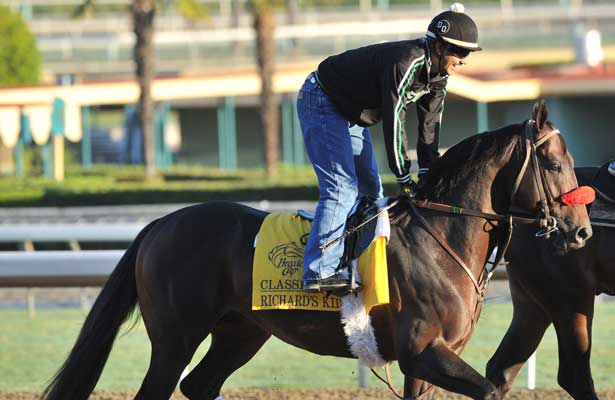 Richard's Kid, trained by Doug O'Neill,exercises in preparation for the upcoming Breeders Cup at Santa Anita Park on October 30, 2012.