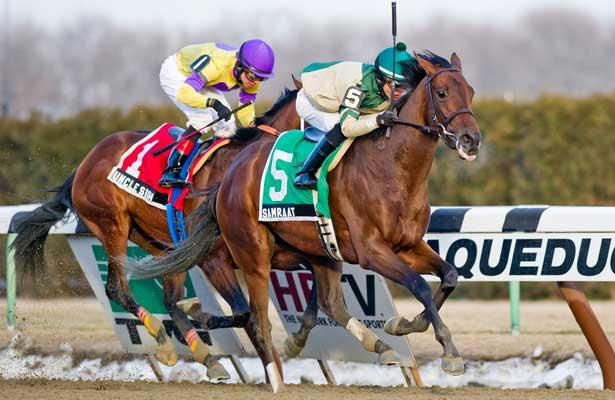 Samraat, ridden Jose Ortiz, wins the Withers Stakes at Aqueduct Race Track in Ozone Park, New York on February 1, 2014.