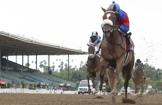 Swiss Skydiver goes west, dominates Santa Anita Oaks