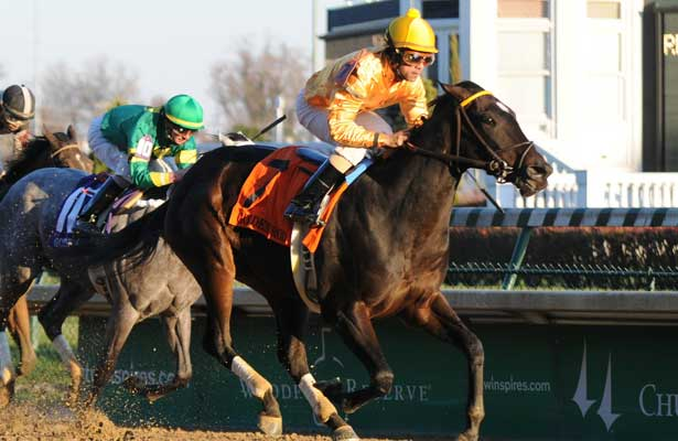 Vexed and jockey Shaun Bridgmohan win the Golden Rod at Churchill Downs, 11-30-13, for trainer Al Stall and owner Claiborne Farm.