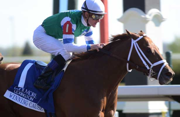 Winning Cause, Julien Leparoux up, wins the Coolmore Lexington for trainer Todd Pletcher and owner Alto Racing; 04-20-13