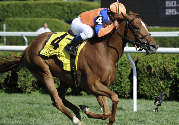 Zagora with Javier Castellano atop, wins the Grade 1 Diana Stakes at Saratoga Race Track on July 30, 2011.