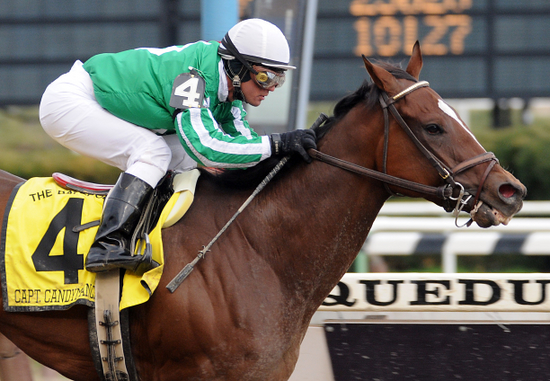 Capt. Candyman Can takes the Bay Shore on Wood Memorial Day at Aqueduct
