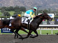 Pioneerof the Nile and Garrett Gomez capture the Robert B. Lewis Stakes at Santa Anita