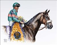 "Thomas Allen Pauly's watercolor portrait of the great ""Zenyatta with Mike Smith up"" www.horseartist.com"